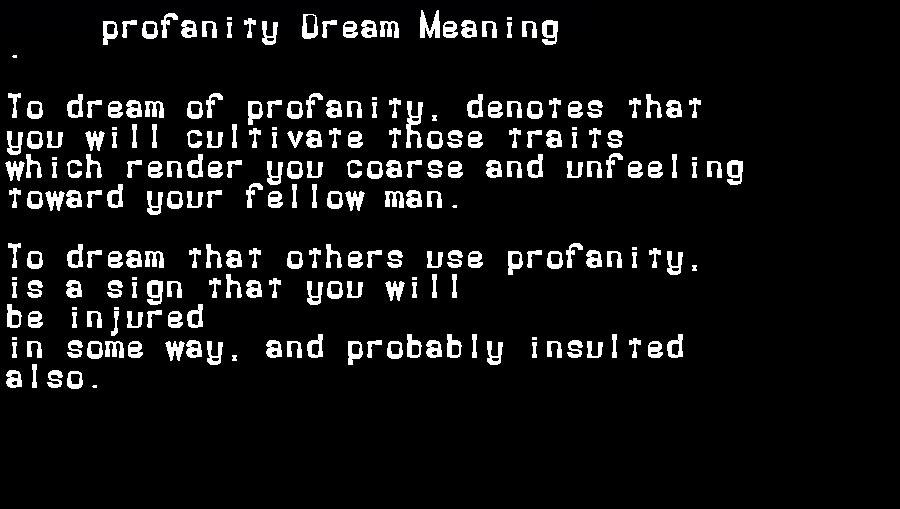 dream meanings profanity