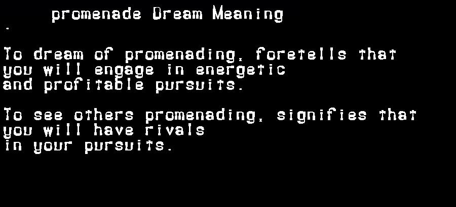 dream meanings promenade