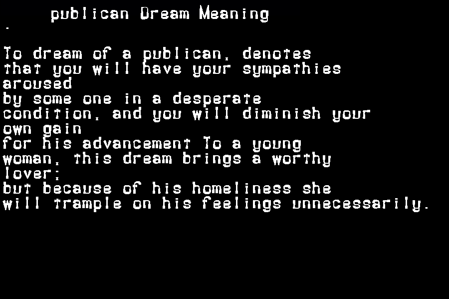 dream meanings publican
