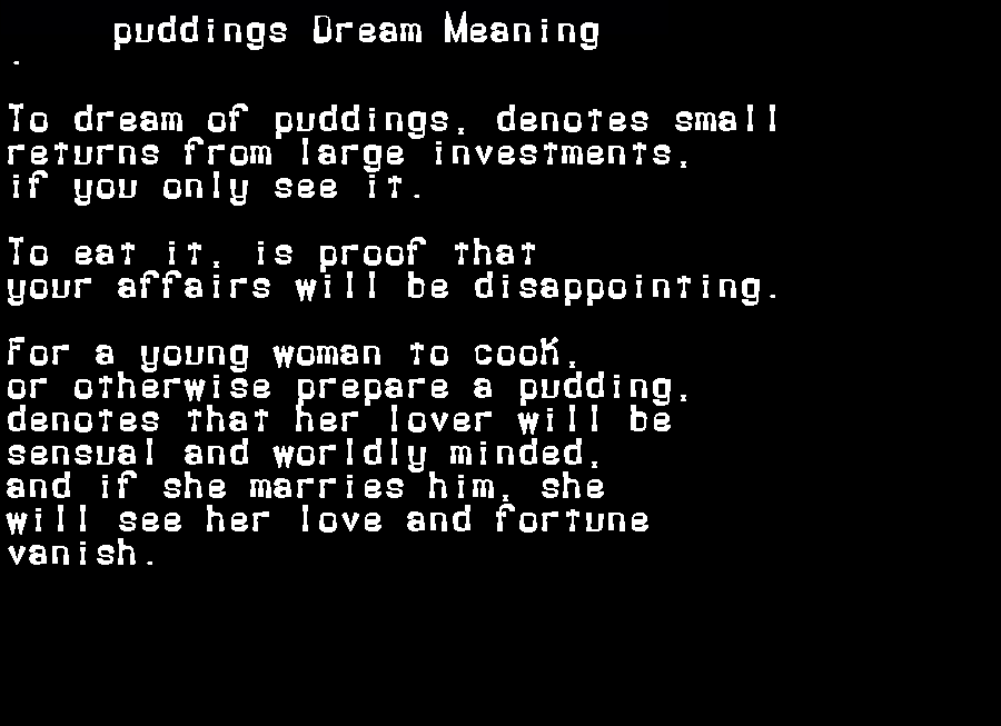 dream meanings puddings