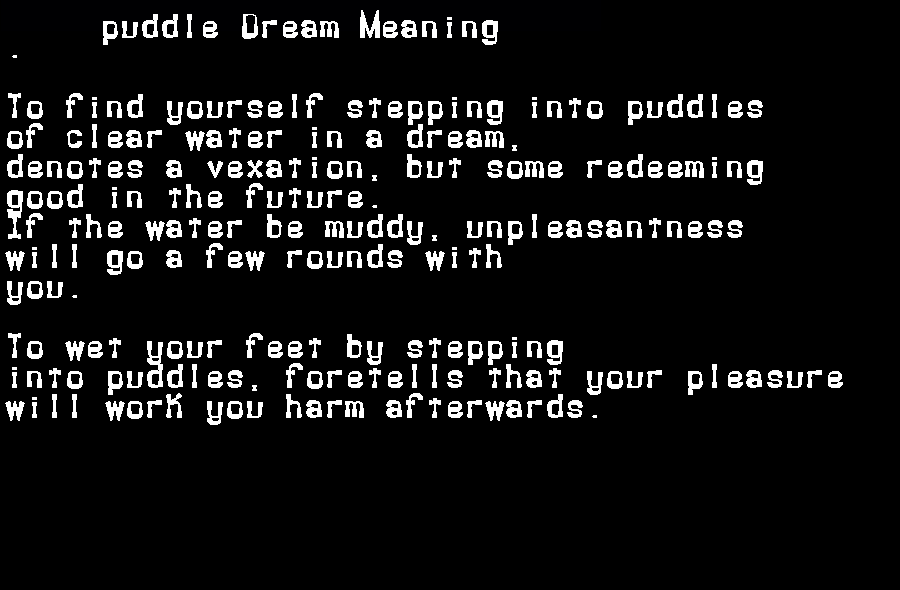 dream meanings puddle