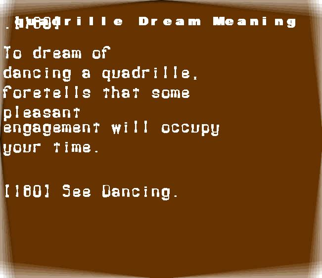 dream meanings quadrille