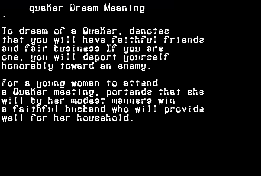 dream meanings quaker