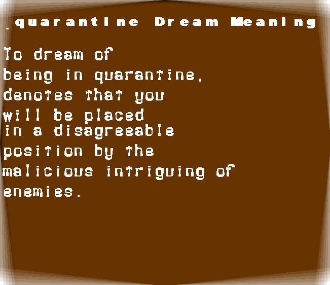 dream meanings quarantine