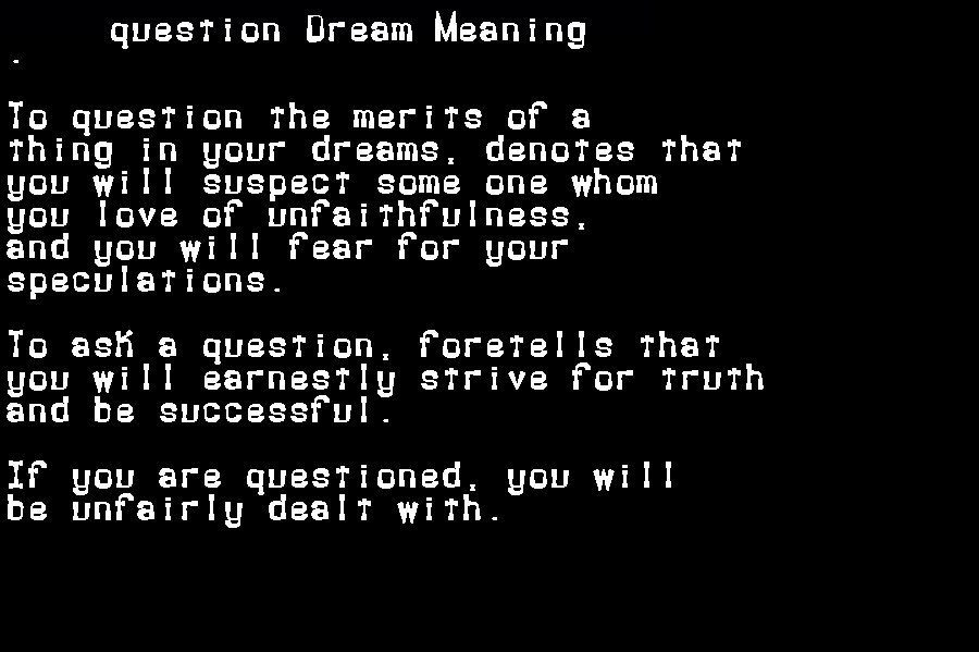 dream meanings question