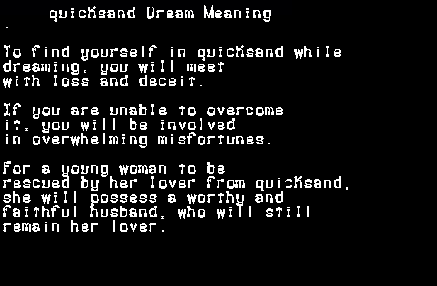 dream meanings quicksand