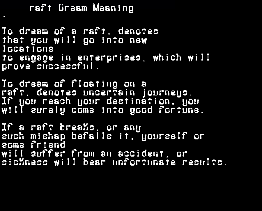 dream meanings raft