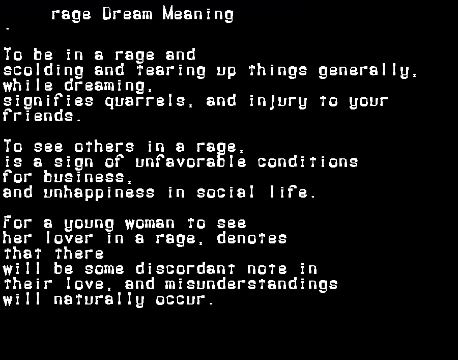 dream meanings rage