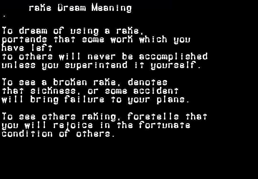 dream meanings rake