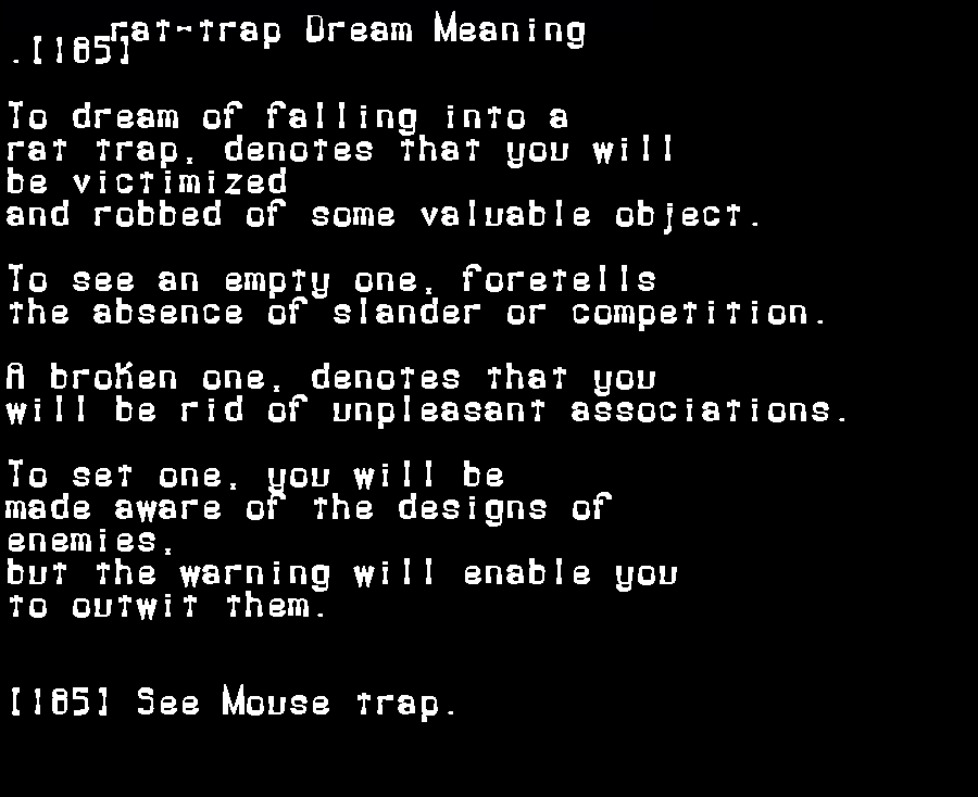 dream meanings rat-trap