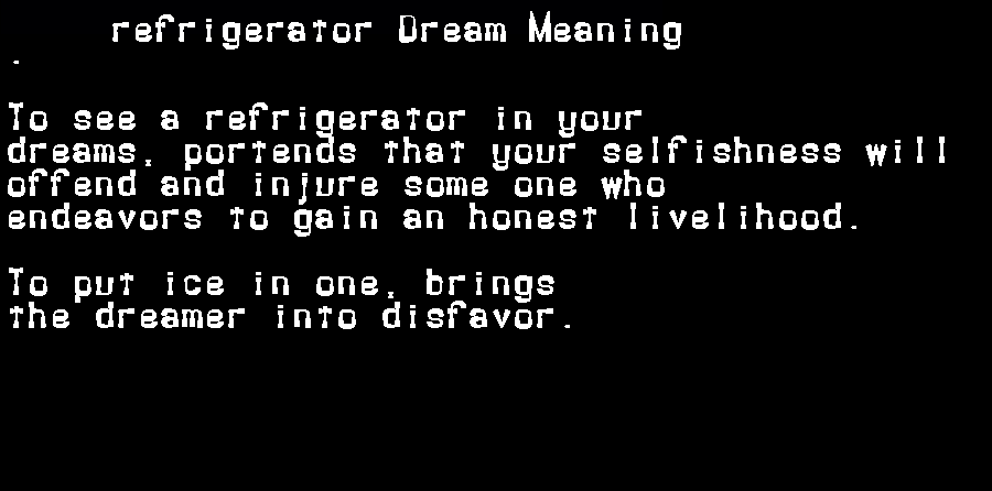 dream meanings refrigerator