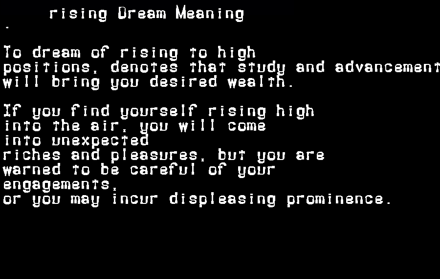dream meanings rising