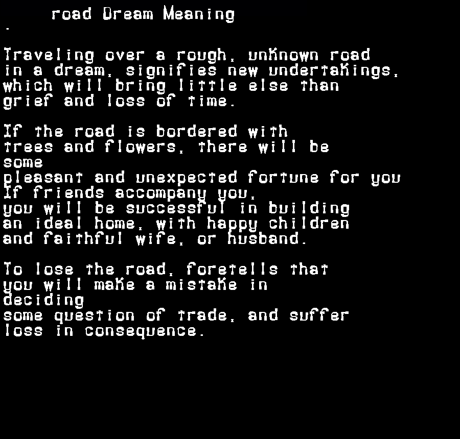 dream meanings road