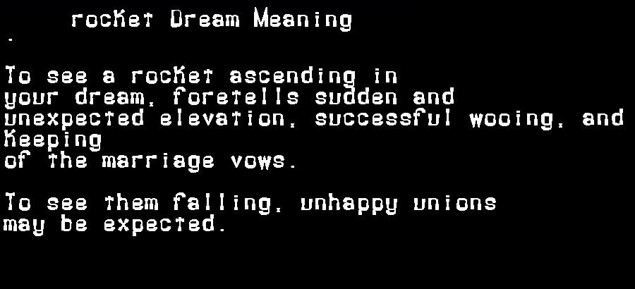 dream meanings rocket