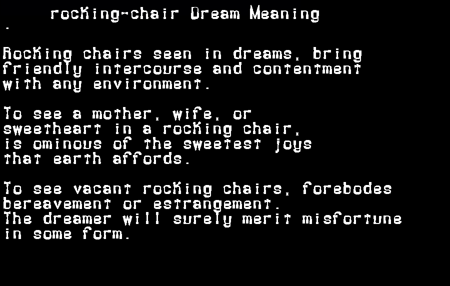 dream meanings rocking-chair