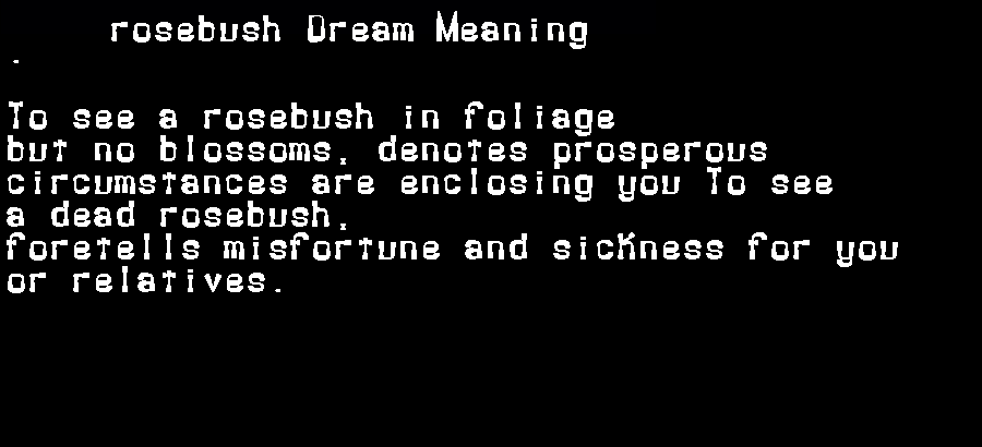 dream meanings rosebush