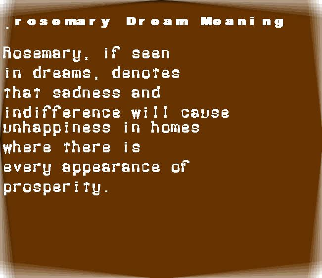 dream meanings rosemary