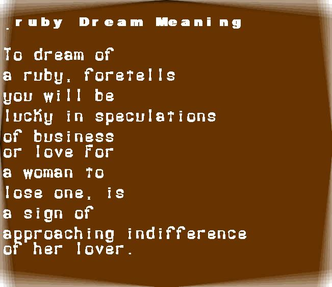 dream meanings ruby