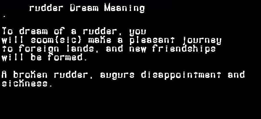 dream meanings rudder