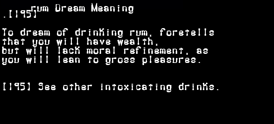 dream meanings rum