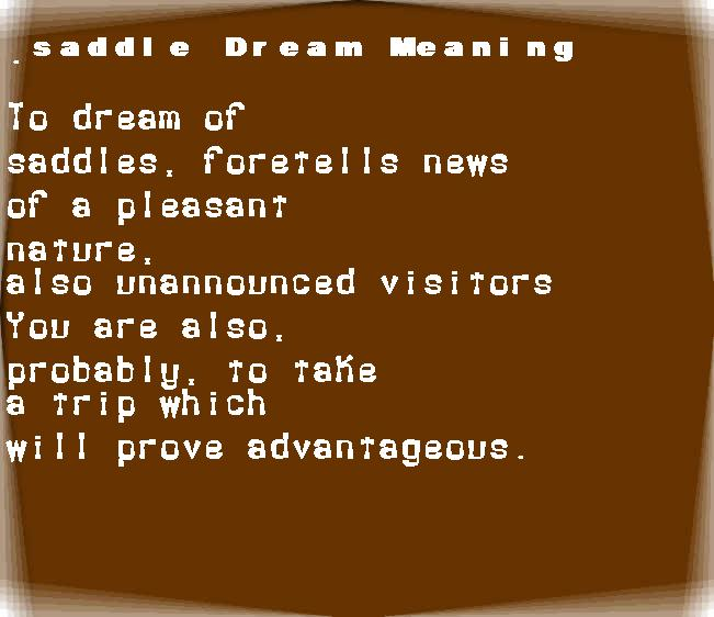 dream meanings saddle