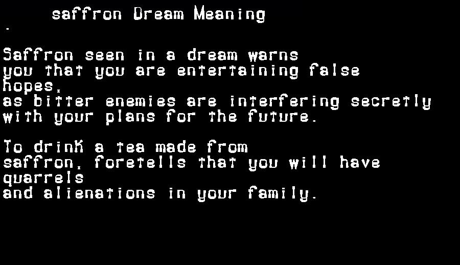 dream meanings saffron