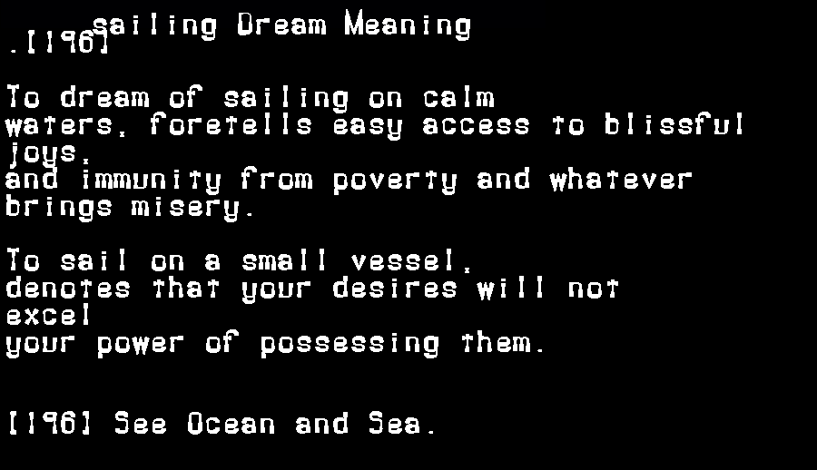 dream meanings sailing