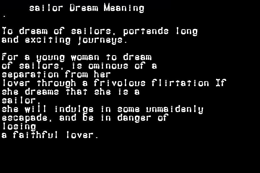 dream meanings sailor