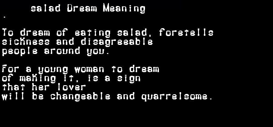 dream meanings salad