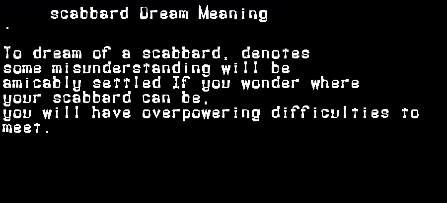 dream meanings scabbard