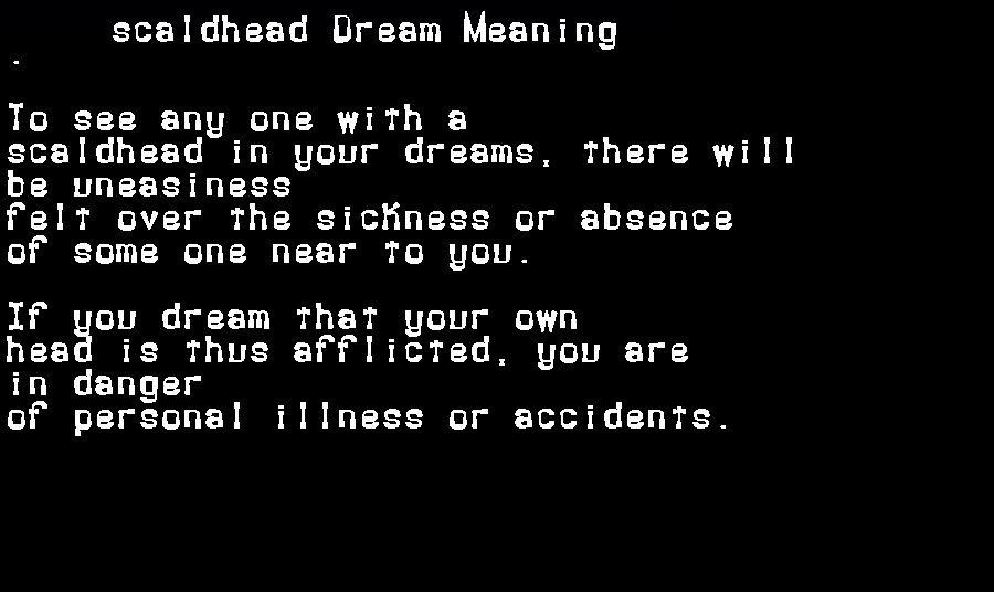 dream meanings scaldhead