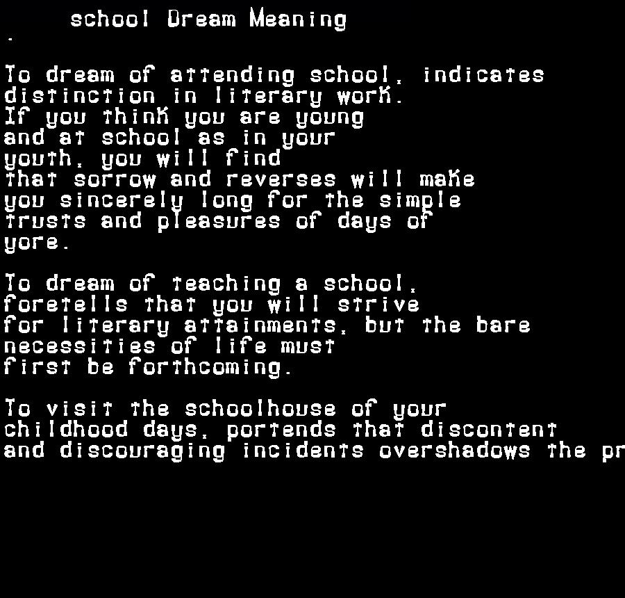 dream meanings school