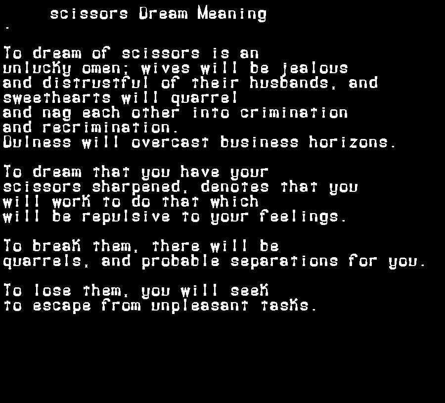 dream meanings scissors