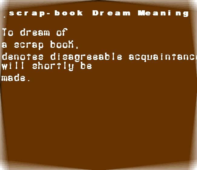 dream meanings scrap-book