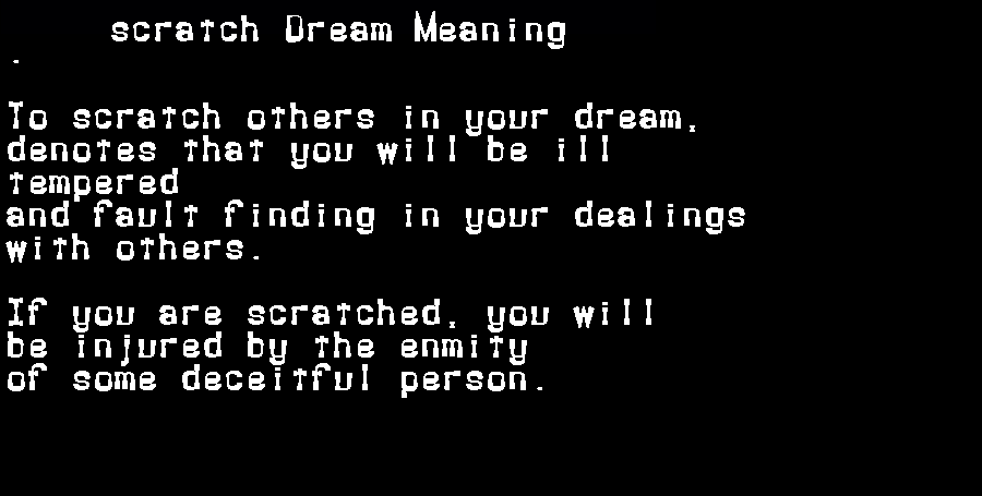 dream meanings scratch