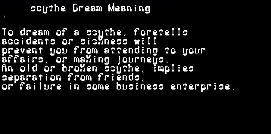 dream meanings scythe