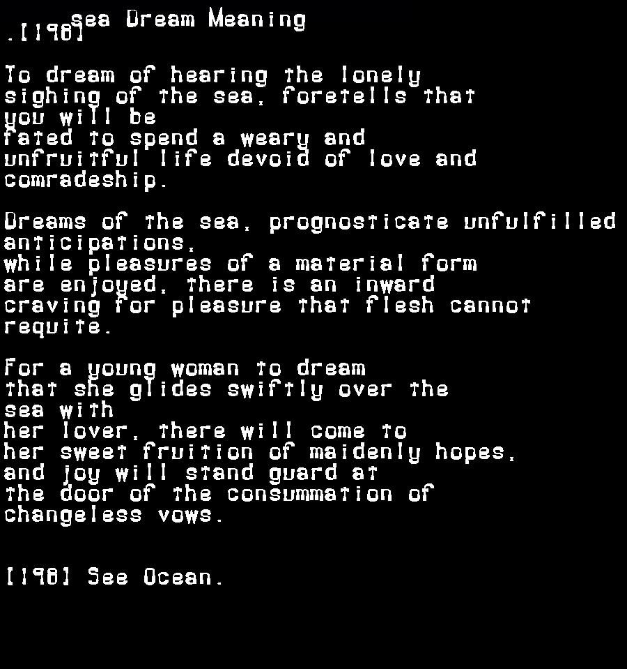 dream meanings sea