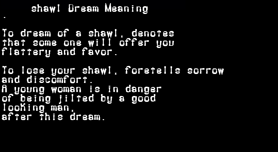 dream meanings shawl