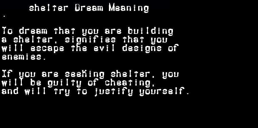 dream meanings shelter