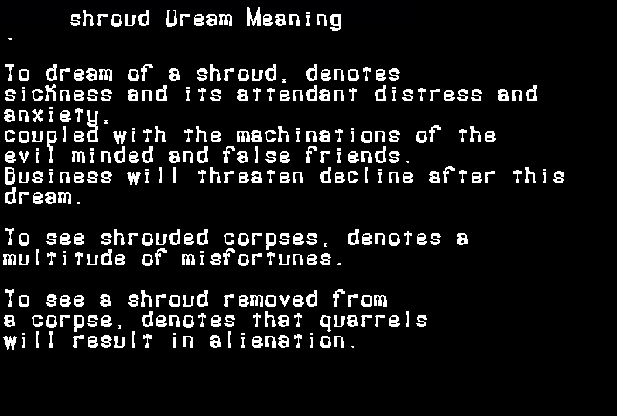 dream meanings shroud