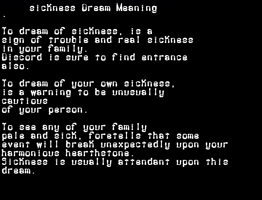dream meanings sickness
