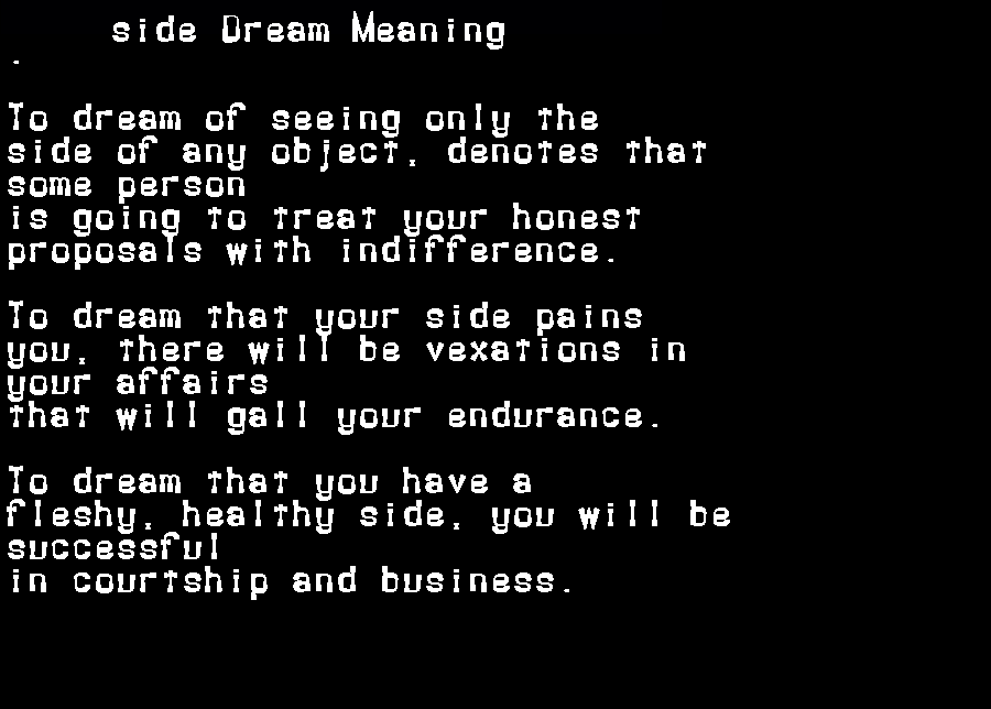 dream meanings side
