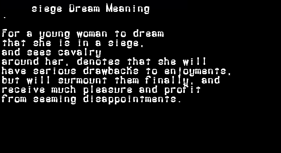dream meanings siege