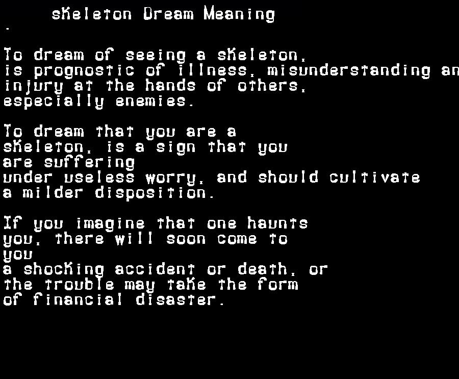 dream meanings skeleton