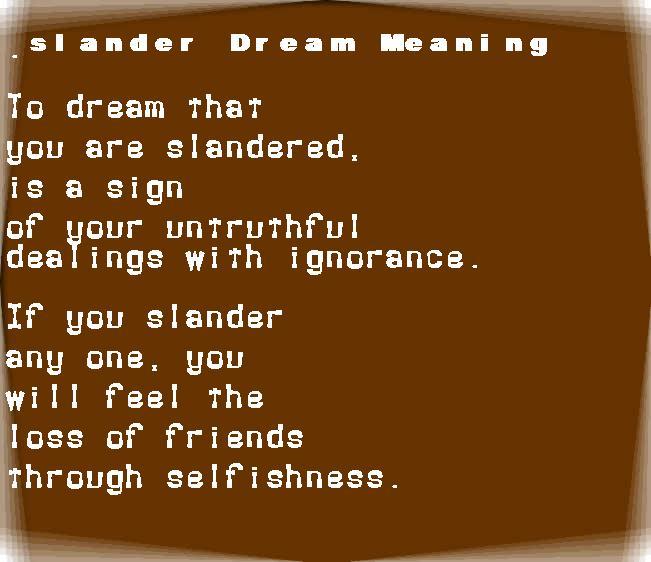 dream meanings slander