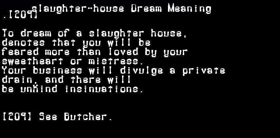 dream meanings slaughter-house