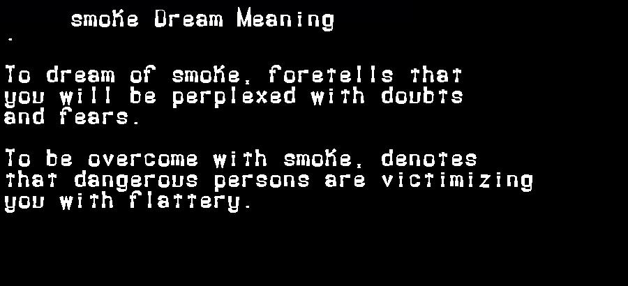 dream meanings smoke