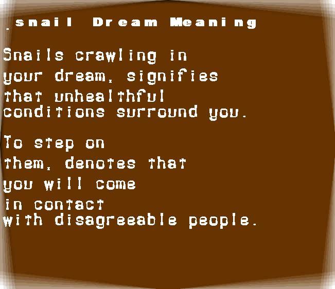 dream meanings snail