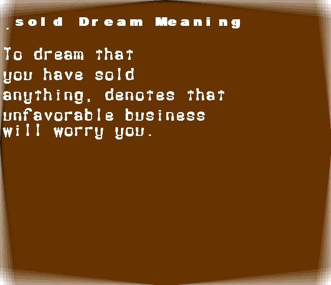 dream meanings sold