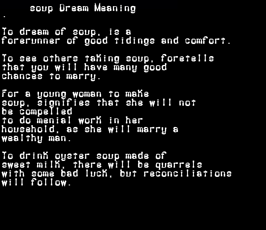 dream meanings soup